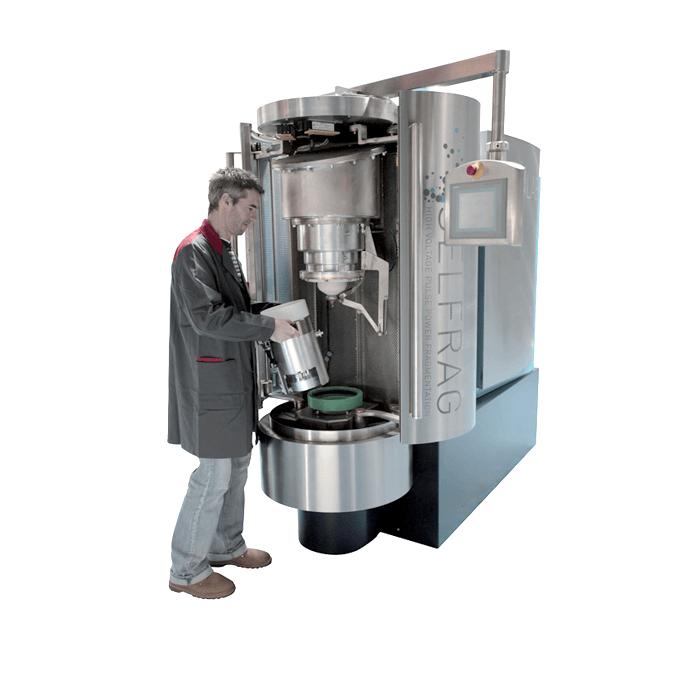The SELFRAG Lab, laboratory fragmenter that utilises high voltage pulse power technology.