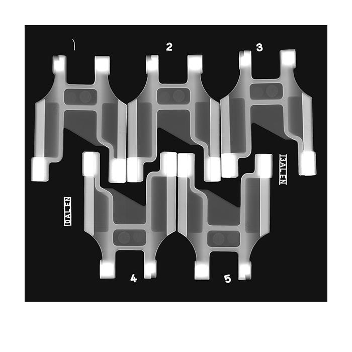 Aluminium castings imaged using X-RIS digital radiography systems