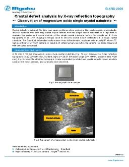 Crystal defect analysis of a single crystal substrate by X-ray reflection topography