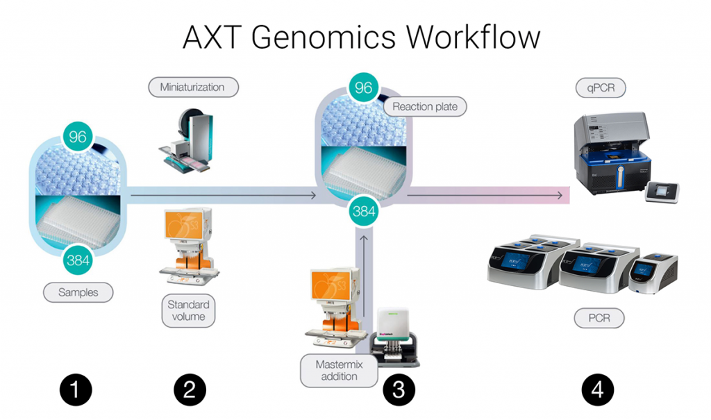 AXT genomics workflow incuding PCR and qPCR