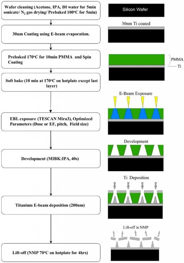 The fabrication process for biomimicked nanopillars using EBL.