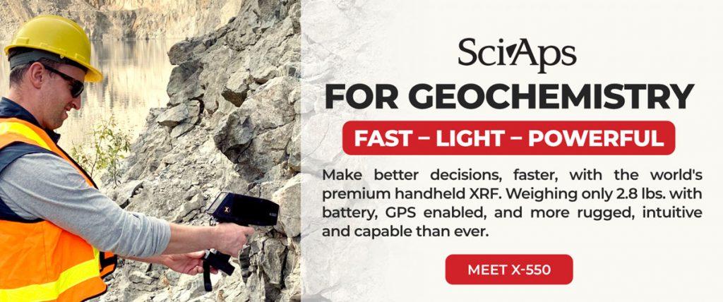 SciAps X-550 pXRF for exploration geology with dedicated geochemistry app