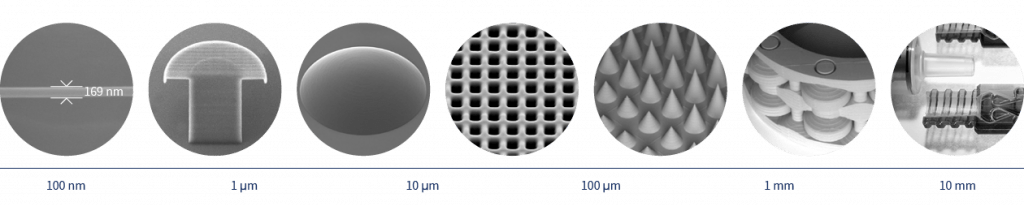 UpNano microfabrication across several orders of magnitude