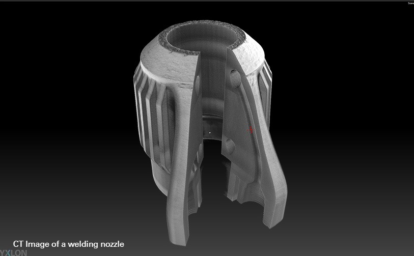 Computed tomography (CT) image of a welding nozzle produced using additive manufacturing or 3D printing